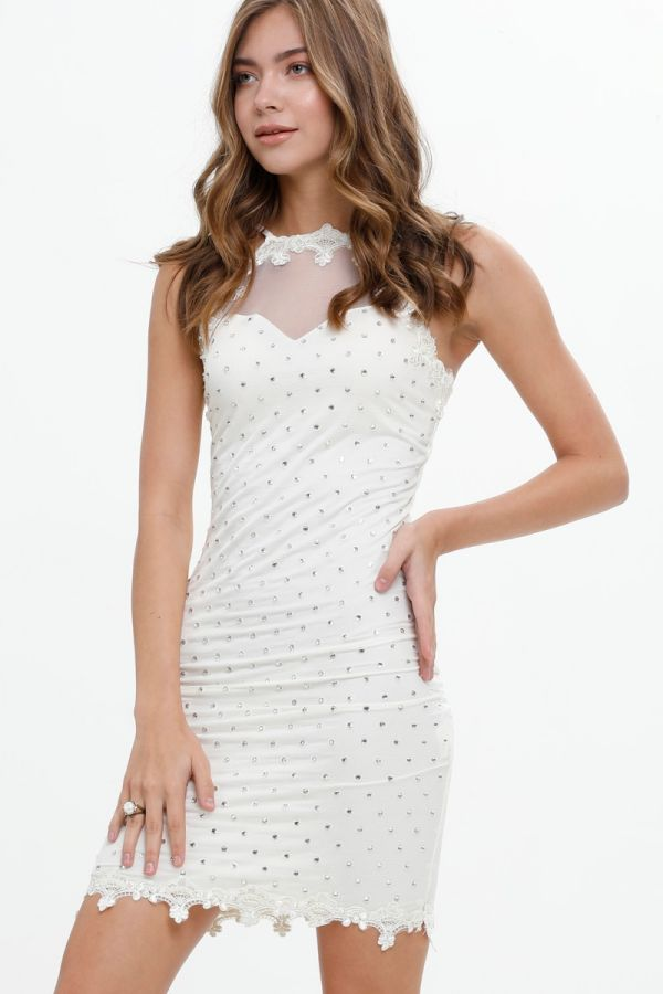 Stone embroidered, Mini Party, Tulle Detailed, Transparent, Short Body-con Dress