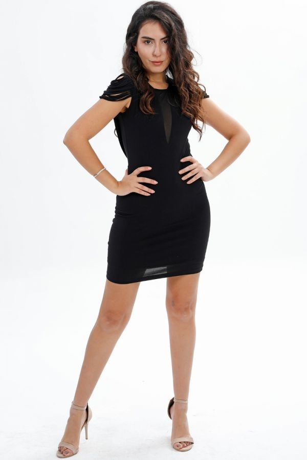 Straight, Shoulder Detail, Chest detail, Casual Dress, Mini Party, Body-con dress