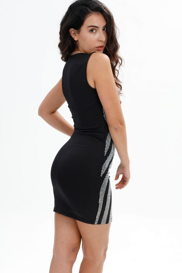 Stone embroidered, Mini, Party, Symmetrical Stone Detail, Transparent, Body-con Black Dress