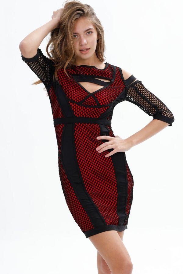 Plain, Short Sleeve, Mini Party, Shoulder, Fishnet , Chest Detail Body-con dress