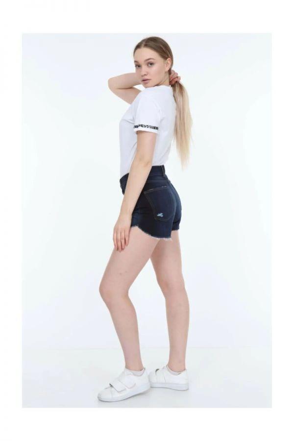 Women's High Waist Navy Blue Denim Shorts