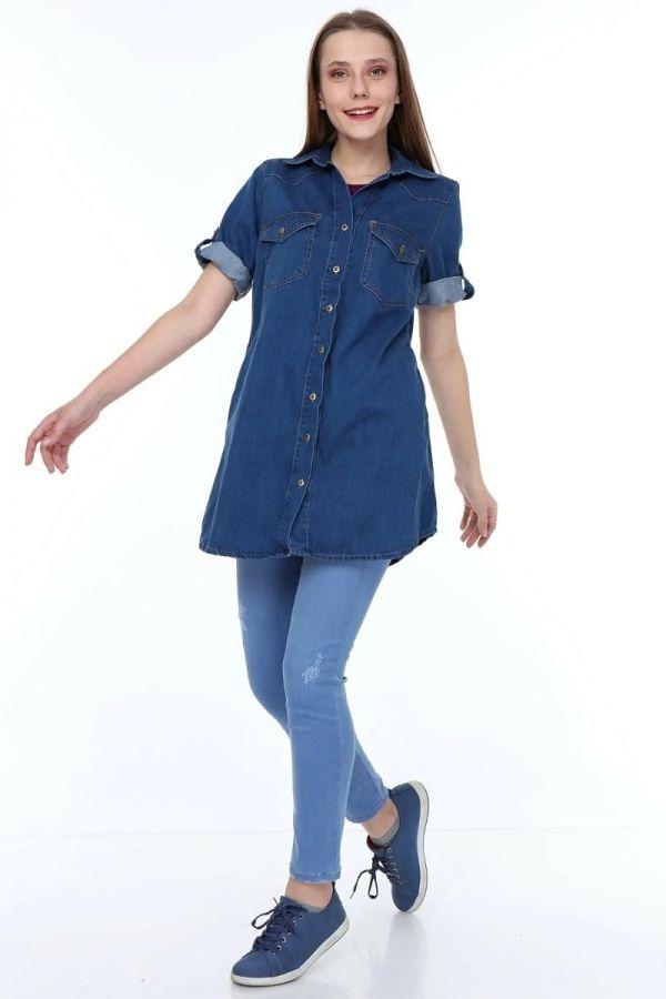 Women's Blue Color Tunic Denim Shirt