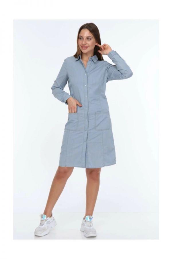 Ladies Gray Color Pearl Snap Dress