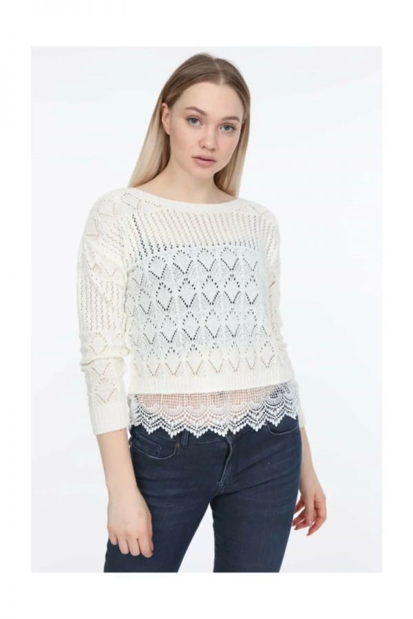 Women's Ecru Knitwear Sweater