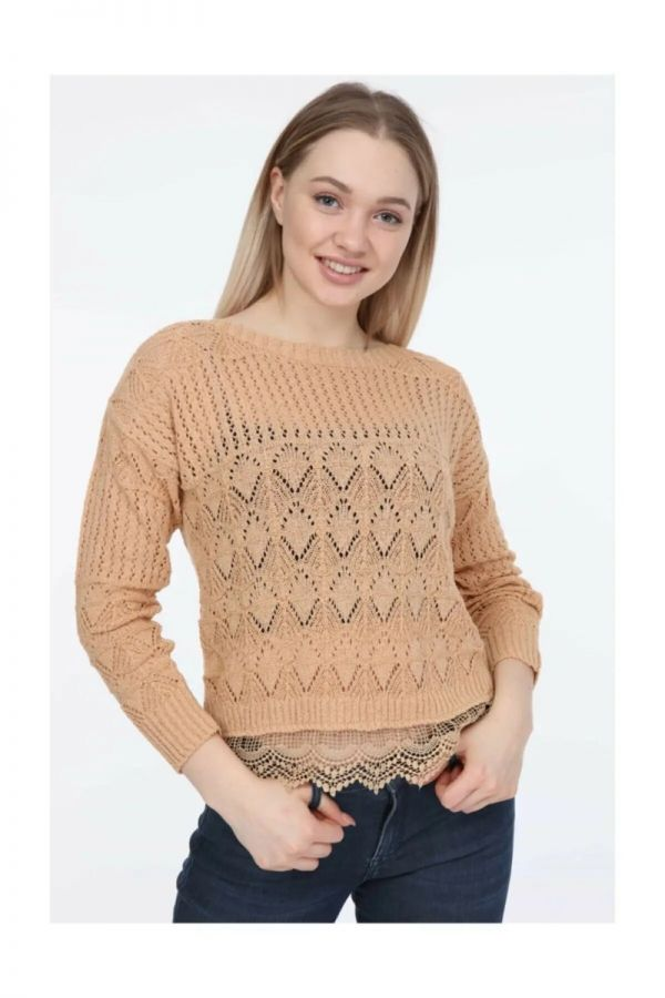 Women's Beige Knitwear Sweater