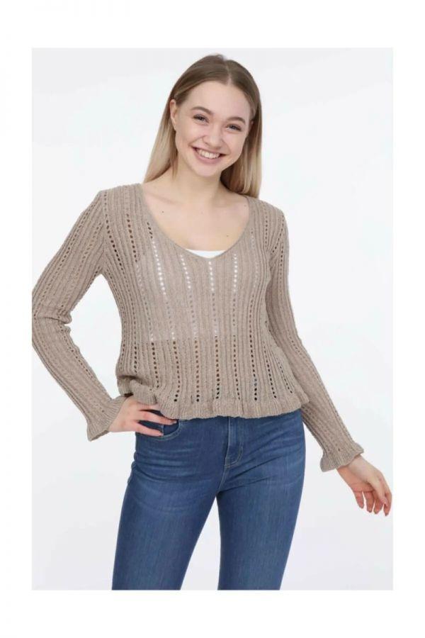 Women's Brown Knitwear Sweater