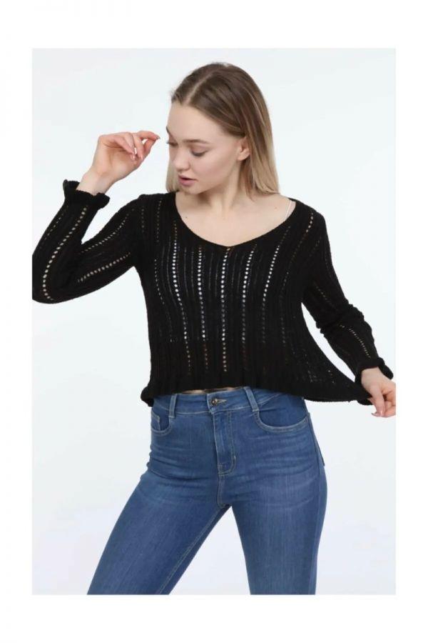 Women's Black Knitwear Sweater