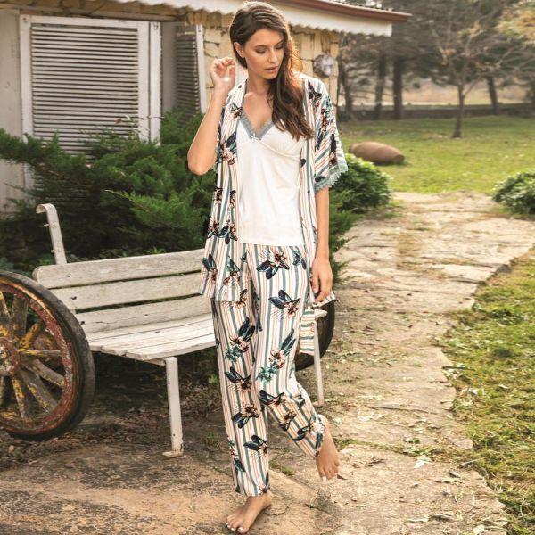 Wholesale Loungewear collection , 3 pcs , Gown, top and pyjamas set