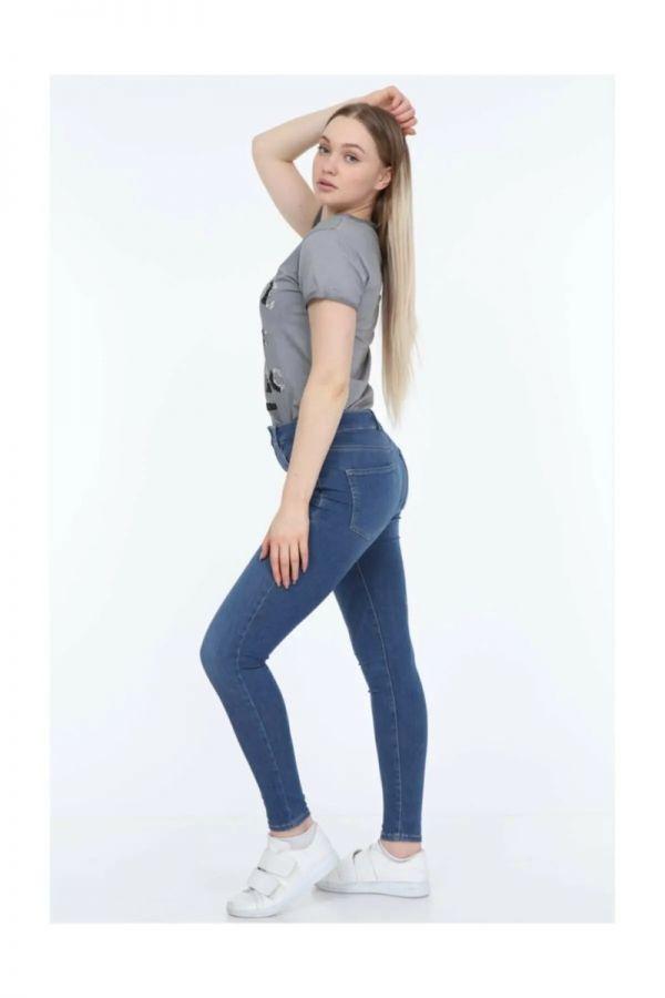 Women's High Waist Blue Color Cotton Skinny Jeans