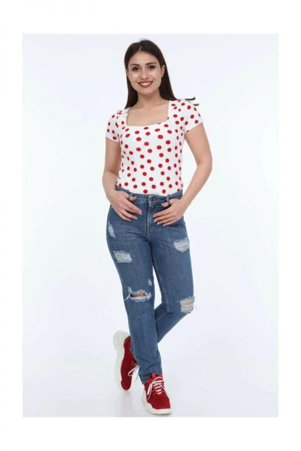 Women's High Waist Ripped Mom Jeans