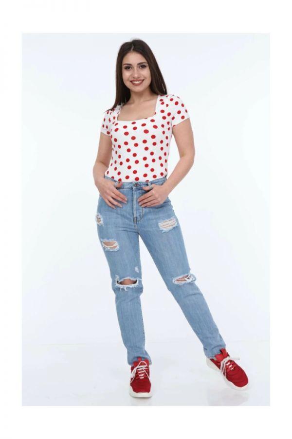 Womens High Waist Ripped Boyfriend Jeans