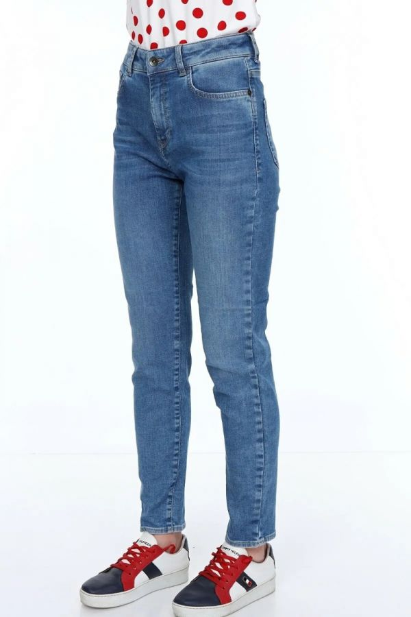 Women's High Waist Blue Color Skinny Jeans