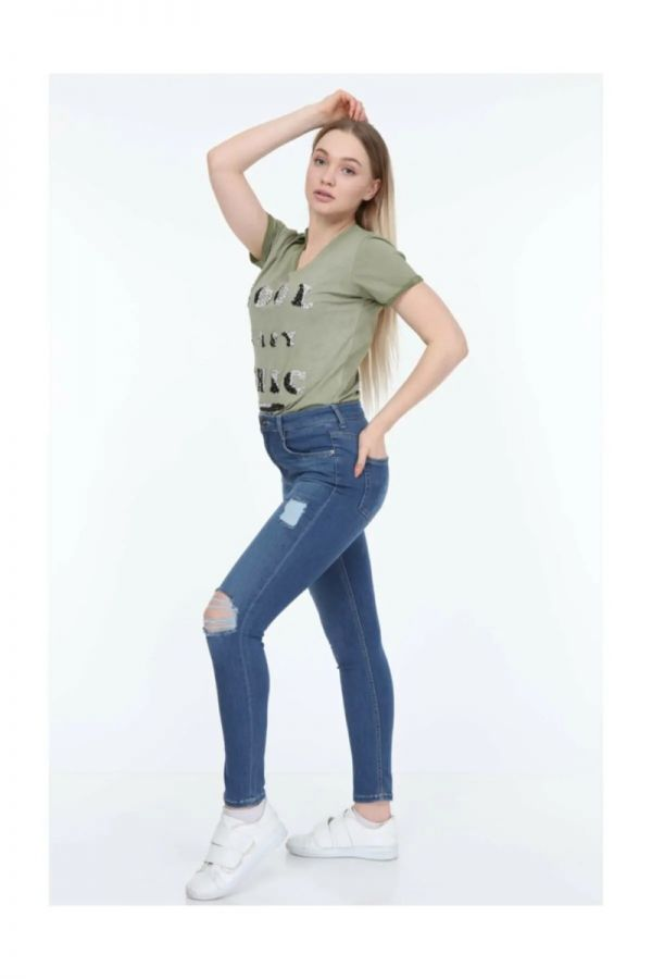Women's High Waist  Blue Skinny Jeans