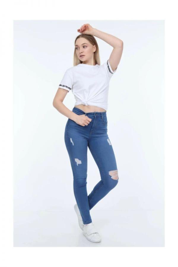 Women's High Waist Ripped Blue Jeans