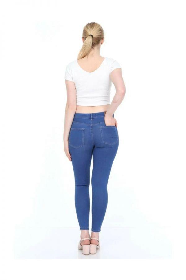 Women's High Waist Blue Ripped Jeans