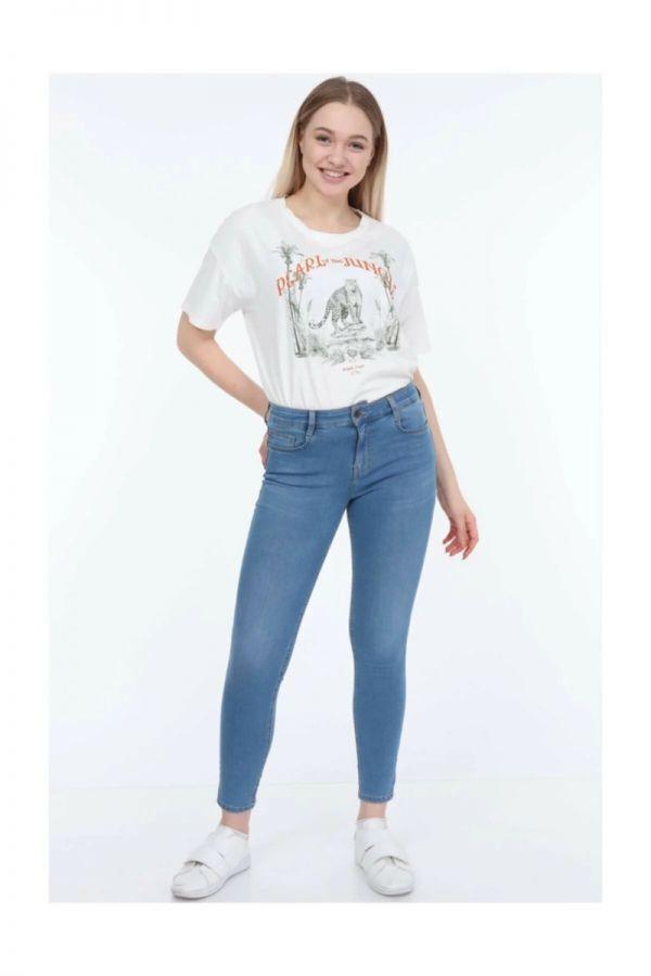 Women's Normal Waist Blue Color Skinny Jeans