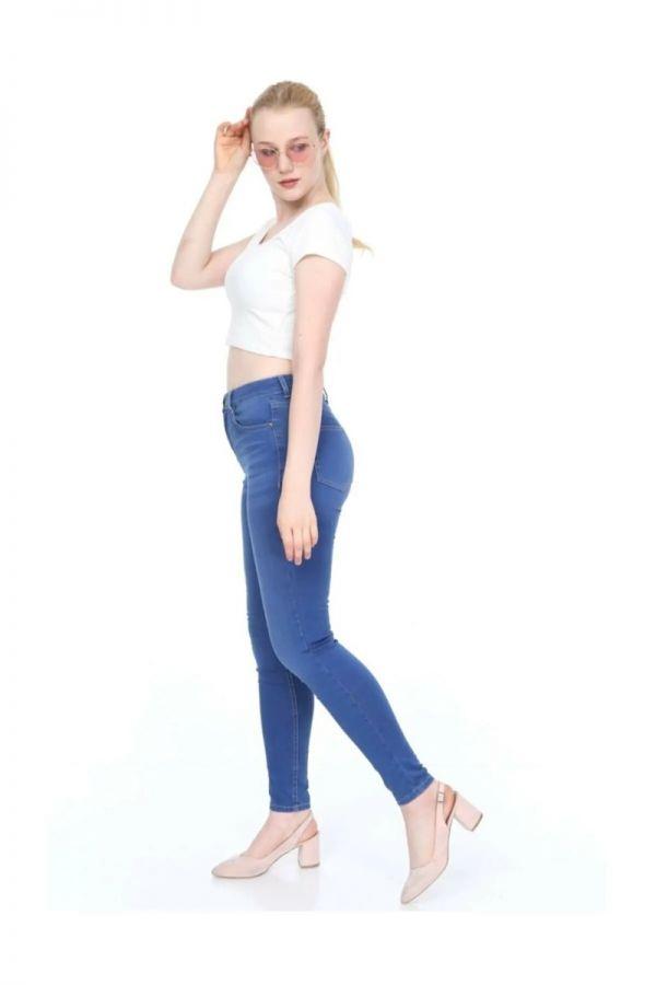 Women's High Waist Skinny Fit Blue Jeans
