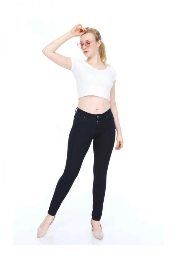 Women's Navy Blue Waist Skinny Jeans