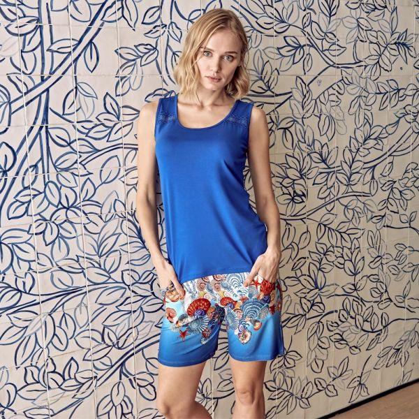 Wholesale Homewear collection , Blue color Women t-shirt, shorts set