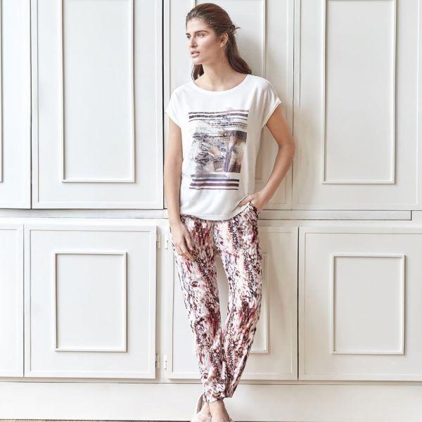 Wholesale Loungewear collection , Ecru color Women t-shirt, pyjama set