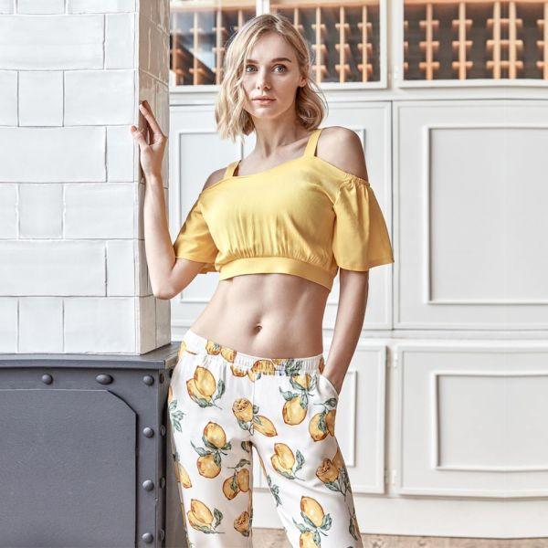 Wholesale Homewear collection , Yellow, Women's t-shirt, pyjama set