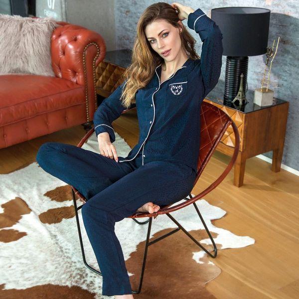 Wholesale Homewear collection , Blue , Women open front shirt, pants set
