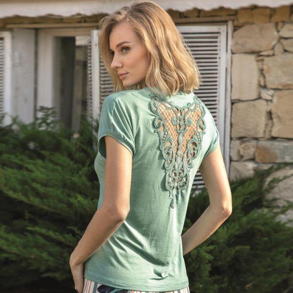 Wholesale Homewear collection , Green Short sleeve t-shirt, pants set