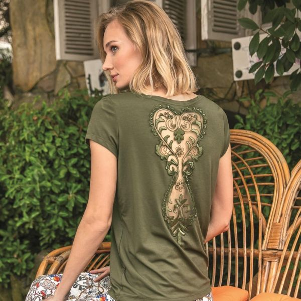 Wholesale loungewear collection , Green color Short sleeve t-shirt, pants set