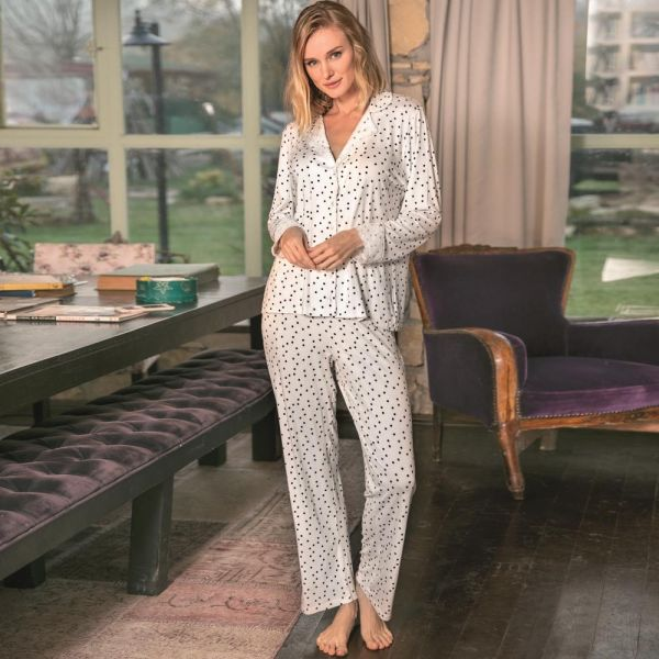 Wholesale Homewear collection , Ecru Long sleeve shirt, pants set