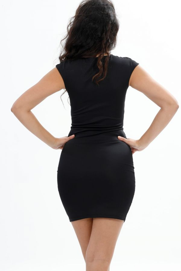 Stone embroidered, Mini, Party, Chest, Tulle, Shoulder Detail, Symmetrical Stone Detail, Body-con Short  Black Dress