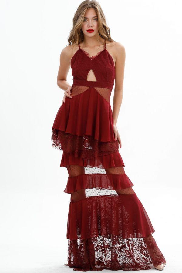 Long Party Dress, Long Sleeve ,Tulle, Back Low-Cut, Sheer, Long Wedding Dress