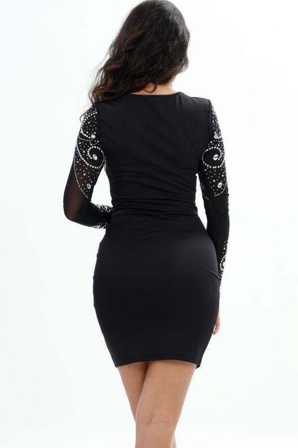 Symmetrical Stone Detail, Mini Party, Long Sleeve, Transparent , Body-con, Black Wedding Dress