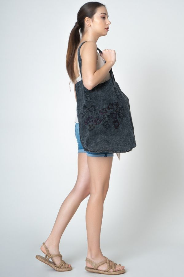Black Linen Authentic Women Bag