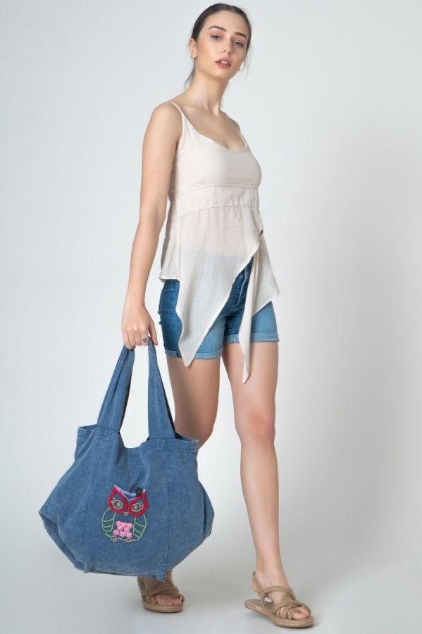 Owl embroidered Blue color Linen Authentic Women Bag