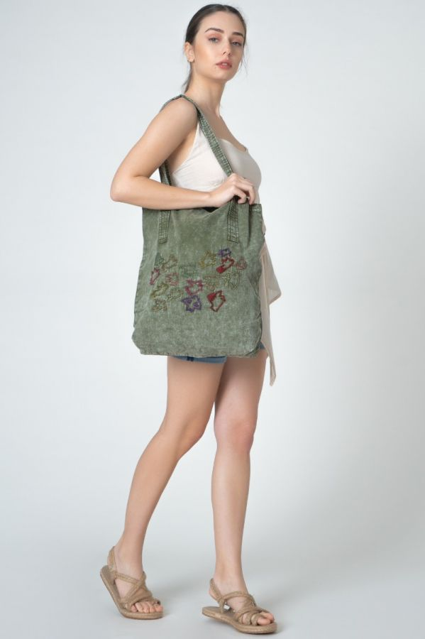 Khaki Color Linen Embroidered Authentic Women's Bag