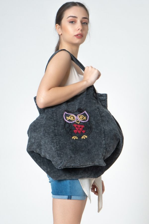 Owl embroidered Anthracite color Linen Authentic Women Bag