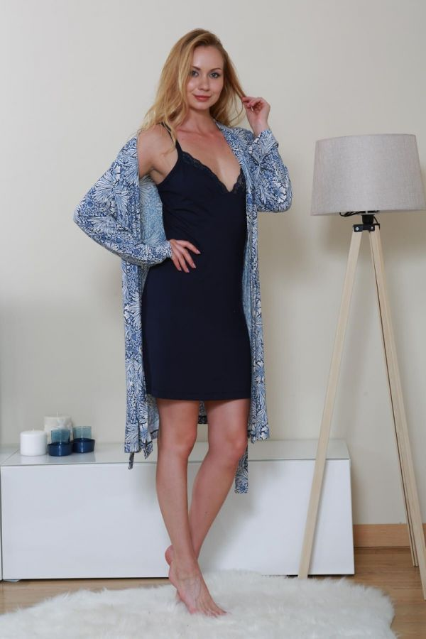 Plus Size Loungewear, Dark Blue Women's Floral Hanger Short Nightgown Set