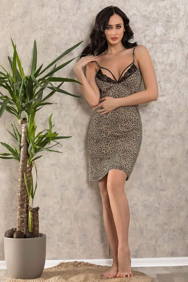Plus Size Loungewear , Women's Leopard Patterned Hanger Short Nightgown