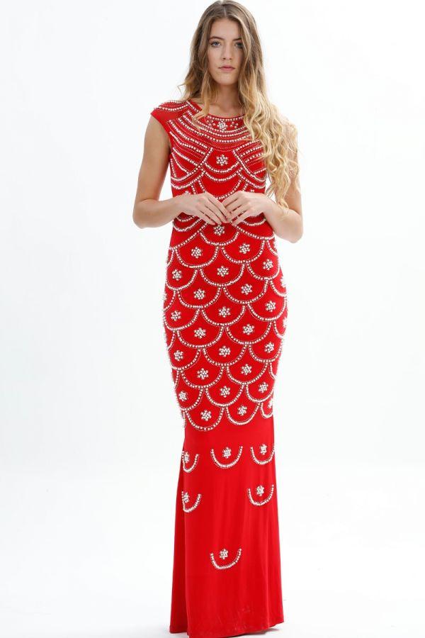 Long Party Dress, Symmetrical Stone Detail, Transparent, Engagement, Wedding Dress